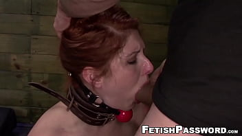 Gagged redhead dominated hard and fucked with no mercy
