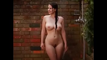 Very sexy curvy babe bathing