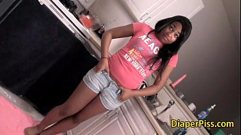 black sexy teen peeing in diaper during piss training