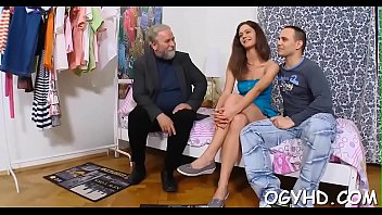 Young gal gives a blow to old penis 5 min