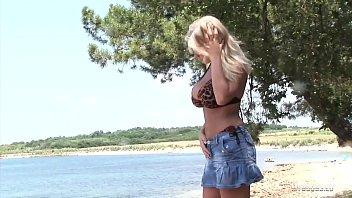 Busty Legend Ines Cudna masturbates at Public Beach