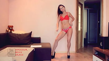 Skinny, Toned & Athletic European Lingerie Model Dancing Orange Lingerie Swim Suit Set