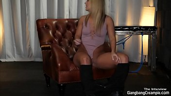 HOT BLONDE UN-SNAPS HER CROTCH AND SHOWS HER TINY PUSSY BEFORE GANGBANG