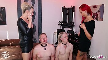 German Femdom Domination Spit and more Session with 2 Slaves