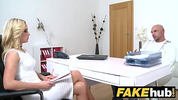 Female Agent Bodybuilder Shoots His Load All Over Slim Agents Belly