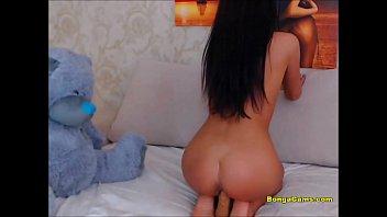 Luscious brunette toying her twat on webcam 13 min