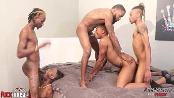 Breed it Raw - 4 tops fuck a willing bottom, black gay rough gangbang bir