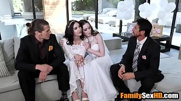 Lesbian brides foursome fucked by their fathers