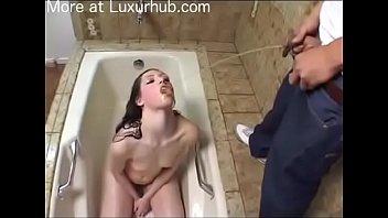 Teen slave take a piss bath and d. piss