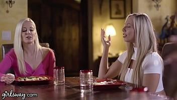 Girlsway Aidra Fox, Elena Koshka & Their Bestie Finger Each Other Hard After Lunch 15 min