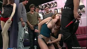 Bound ginger anal gang bang in public