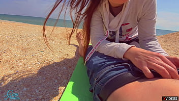 Stranger Cum In My Panties On The Beach Risky Public Creampie