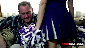Stepdad rocks stunning brunette cheerleader babe hard 8 min