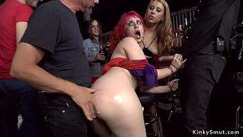 Redhead slut gets gangbang in public