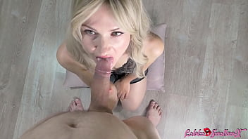 Hot Blonde Blowjob Big Cock Until Cum In Mouth Before Bedtime
