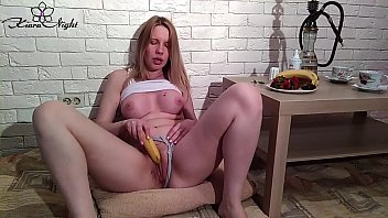 Lustful Schoolgirl Plays with Food and Tight Pussy - Sensual Solo