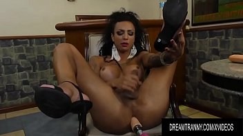 Ebony Tranny Isa Potter Rides a Dildo and Gets Help from a Fucking Machine