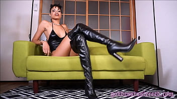 Goddess Rosie Reed Leather Fetish Boot Fetish Ebony Domination Jerk off Instruction Femdom porno izle