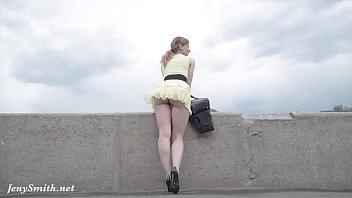 Thin legs nude Jeny smith public flasher shares great upskirt views on the streets