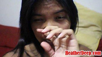 HEATHERDEEP.COM 9 weeks pregnant thai asian teen get anal creampie in black leather