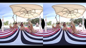 Naughty America VR - Pool Party turns into hot foursome on Memorial Day 12 min