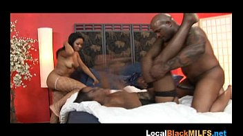 Hard Ebony Threesome Fuck with Stockings on Babes