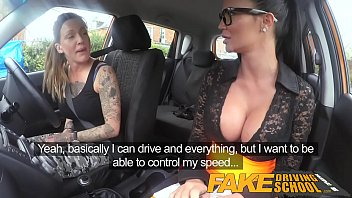 Fake Driving School Sexy strap on fun for new big tits driver 12 min