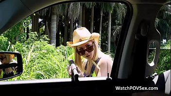 Outdoor threesome on pickups bed