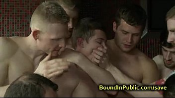Gay face fucked and pissed in local bar