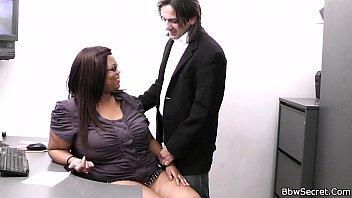 Fat ebony secretary rides boss's cock