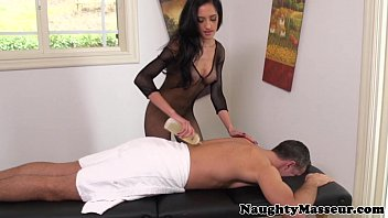 Massage babe Chloe Amour in fishnet nailed