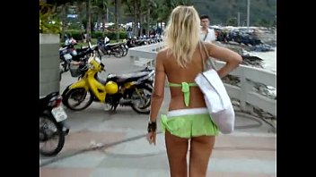 Sexy green mini shorts girl in public
