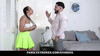 Family Strokes - Stepbro Pranks Virgin Stepsis With Vibrating Toy thumbnail