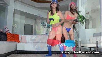 Titty nerds sharing dick on pov video 5 min