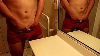 CUTE GUY JERKS OFF AND SHOOTS THICK LOAD OF HOT CUM OVER BATHROOM SINK! HD SOLO MALE ORGASM 11 min