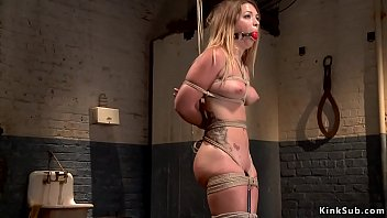 Butt plugged sub gets water bondage