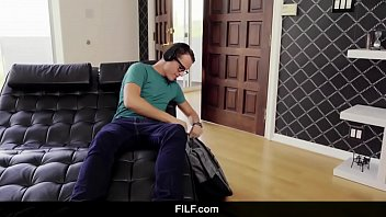 FILF - Lily Lane catches Stepson jerking off to his stepmom 6 min