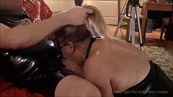 Piss blow job, ball licking and deepthroat with kitty latex