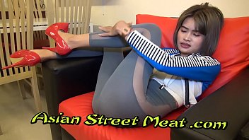 Restrained Asian Bondage Slapper With Sperm Matted Pubes