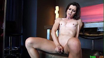 Skinny shemale gets to fucking dildo preview image
