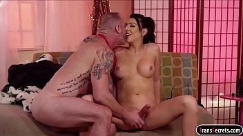 Tgirl Chanel Santini has her dick sucked and barebacking guy