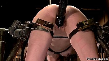 Slave gets vibrated in device bondage