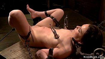 Slave gets vibrated in device bondage