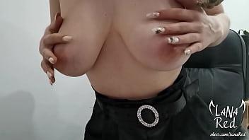 Secretary Masturbates Anal Hole First Time for Boss via Video Call - Lana Red