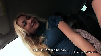 Blonde hitchhiker fucks cock on the road