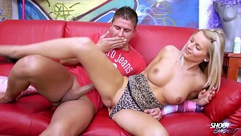 Blonde sexbomb with perfect tits rock the cock on the sofa 20 min