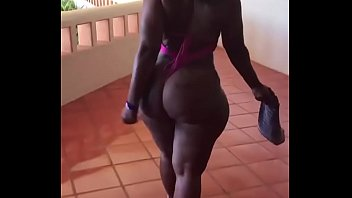Big ass black milf walking around hotel