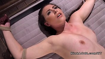Bubble bondage - Busty brunette in ropes anal fucked