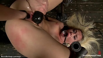 Bound blonde lesbian pussy fisted