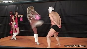 Yuni hentai Japanese domina facesitting and humiliating her slaves on the ring